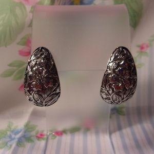 Embossed Flower Silver Tone Pierced Earrings